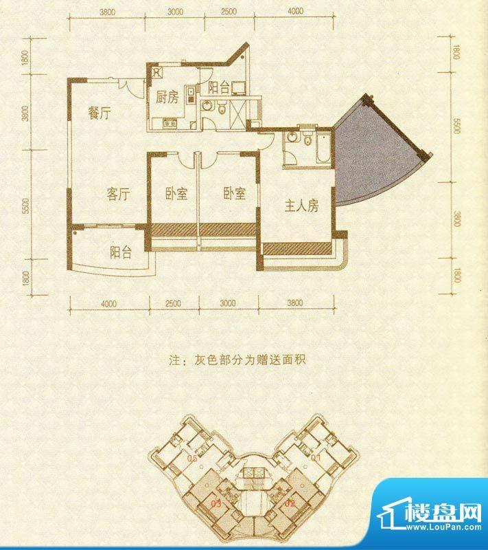 凯茵新城H2栋02-03号面积:122.59m平米