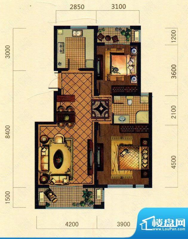 大观花园23#楼A1户型面积:95.00m平米