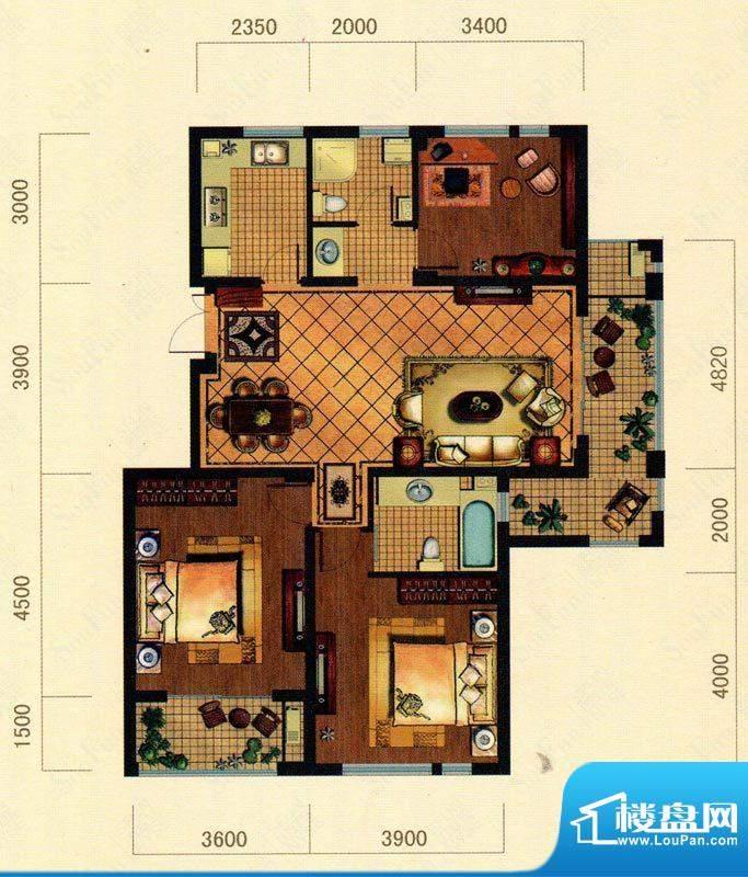 大观花园23#楼B8户型面积:119.00m平米