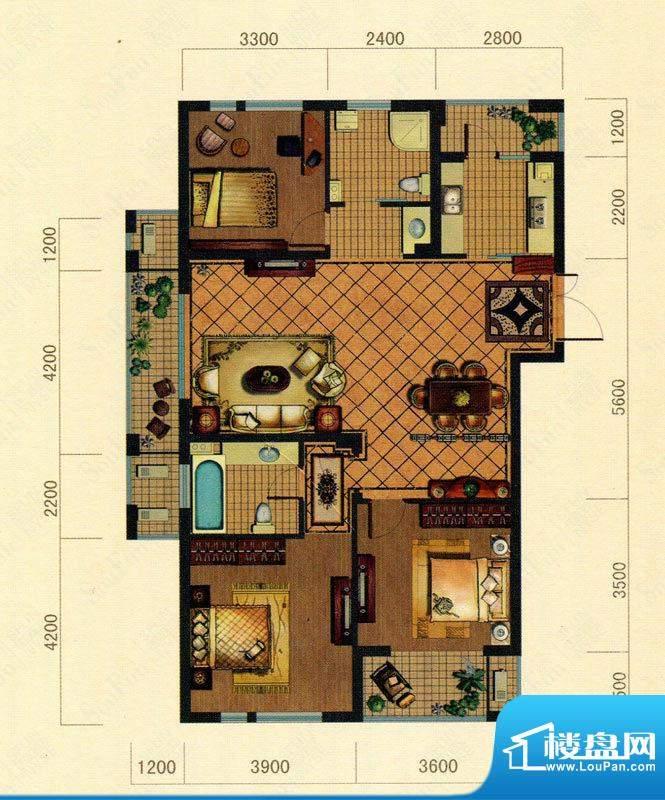 大观花园24#楼C2户型面积:135.00m平米