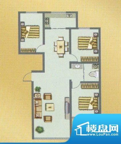 荣和城二期D户型 3室面积:115.00m平米
