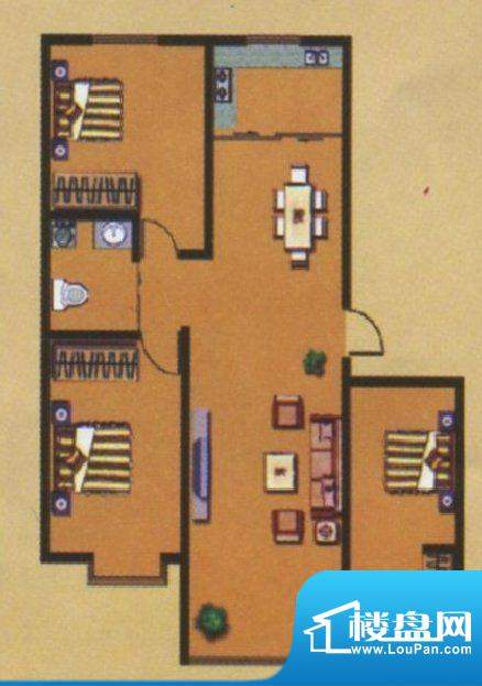 荣和城二期G户型 3室面积:113.00m平米