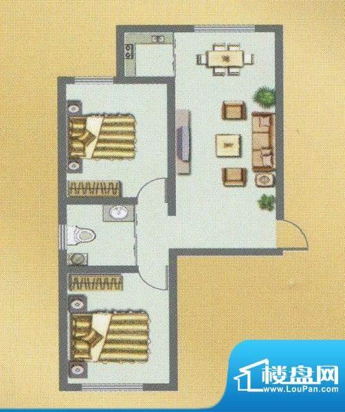 荣和城二期B户型 2室面积:76.00m平米