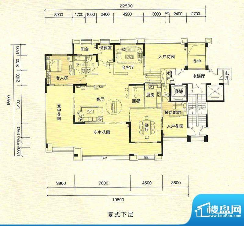 新外滩2号楼复式户型面积:427.55m平米
