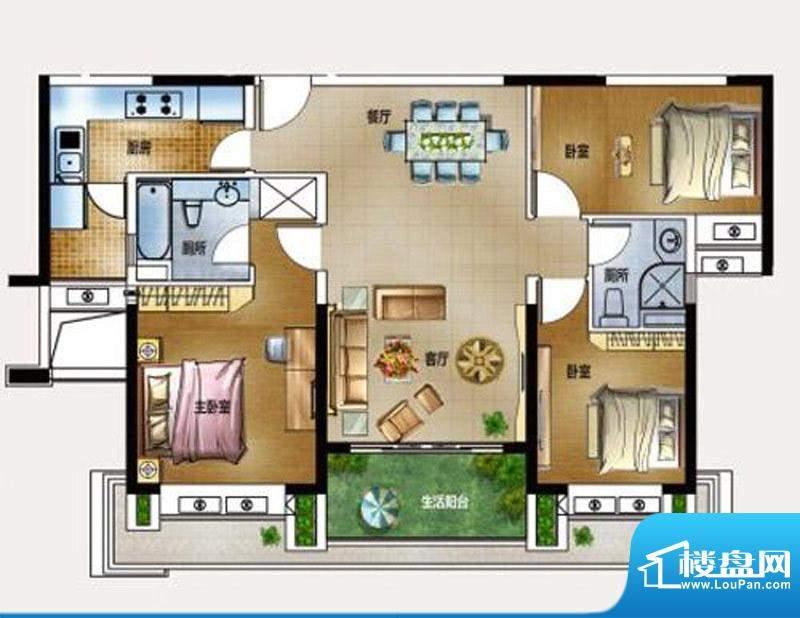 保利春天里C户型 3室面积:0.00m平米