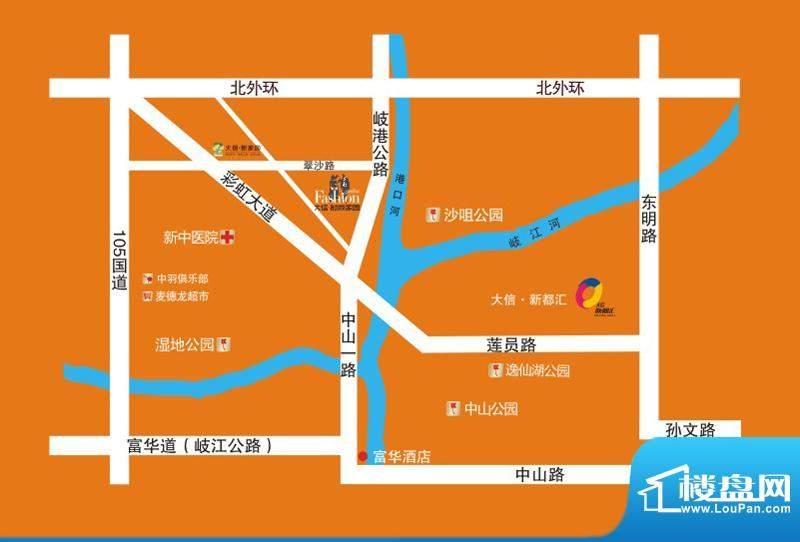 大信时尚家园交通图