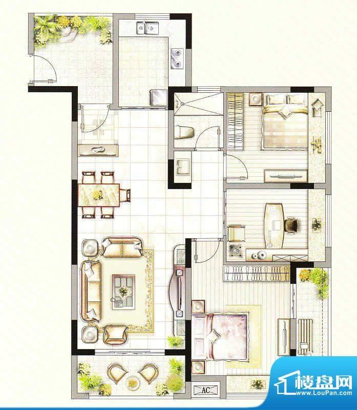 友好公馆F户型 3室2面积:116.00m平米