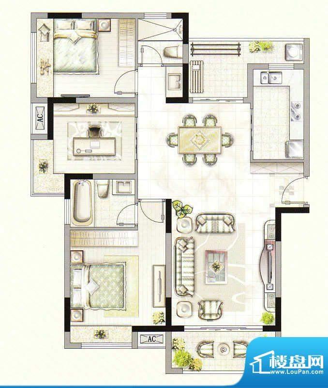 友好公馆E户型 3室2面积:117.00m平米