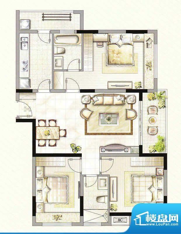 友好公馆D户型 3室2面积:116.00m平米