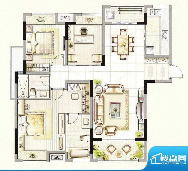 友好公馆A户型 3室2面积:121.00m平米