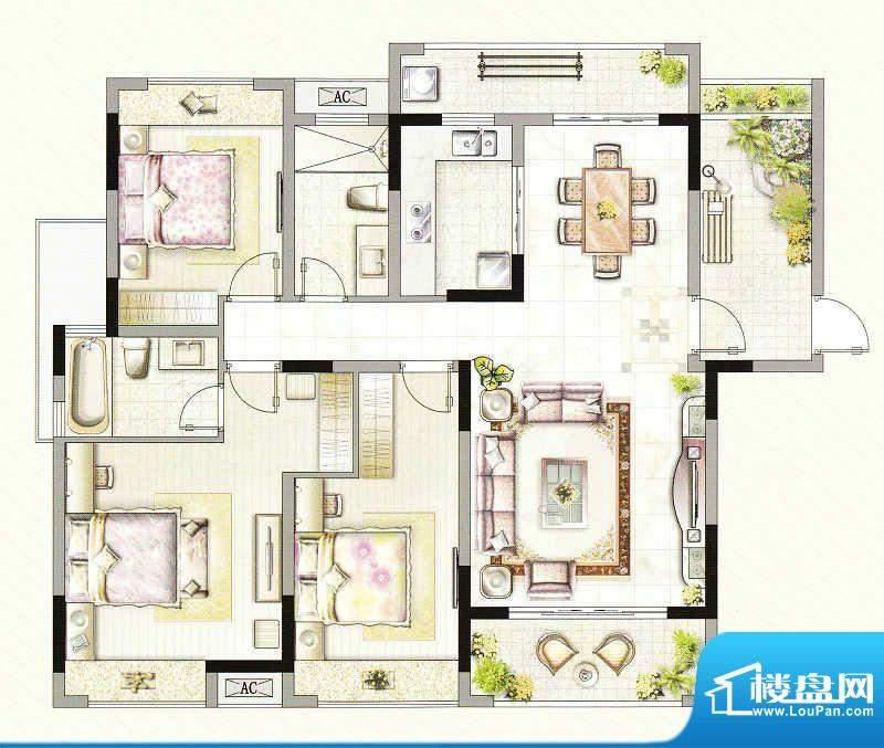 友好公馆C户型 3室2面积:133.00m平米