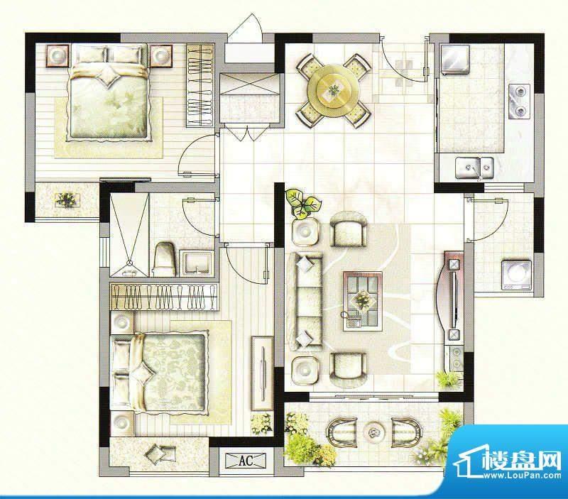 友好公馆G户型 2室2面积:88.00m平米