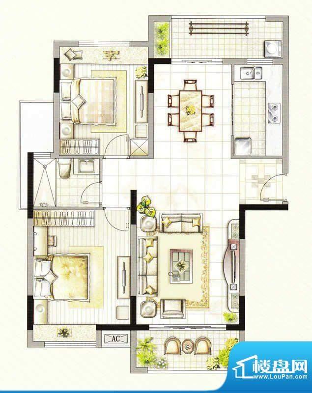 友好公馆H户型 2室2面积:104.00m平米