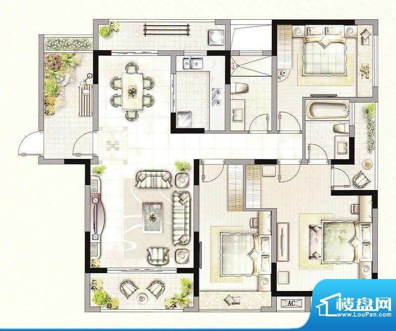 友好公馆B户型 3室2面积:138.00m平米