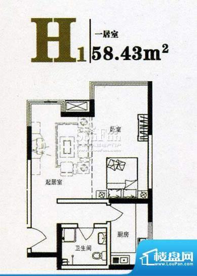 上尚华府碧海苑一期面积:58.43m平米