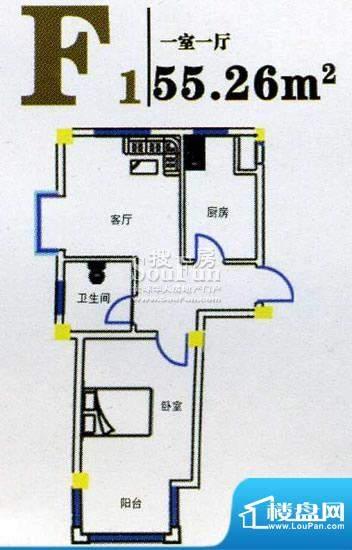 上尚华府碧海苑一期面积:55.26m平米