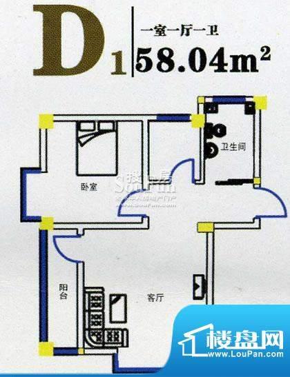 上尚华府碧海苑一期面积:58.04m平米