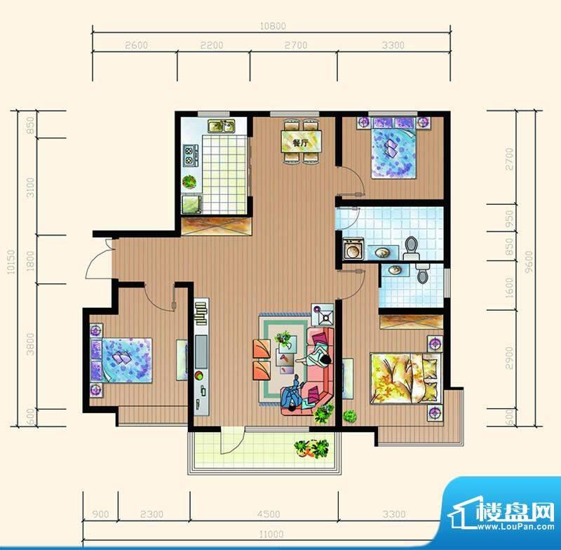 碧海鹏城一期住宅A户面积:129.72m平米