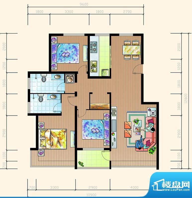 碧海鹏城一期住宅B户面积:122.55m平米
