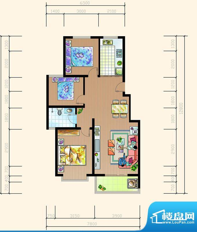 碧海鹏城一期住宅C户面积:97.35m平米