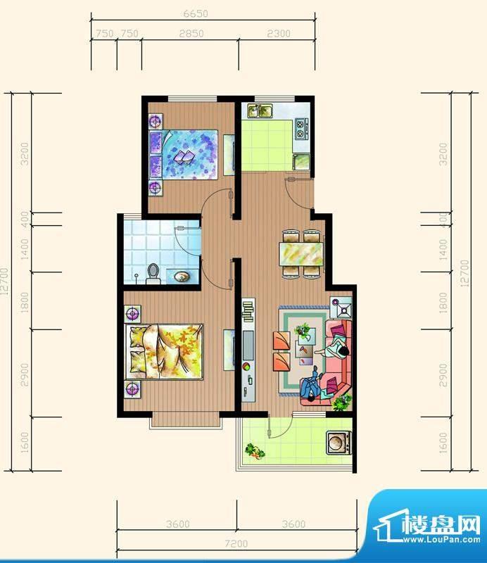 碧海鹏城一期住宅D户面积:79.84m平米