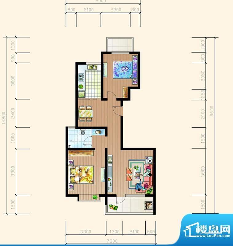 碧海鹏城一期住宅G户面积:100.58m平米
