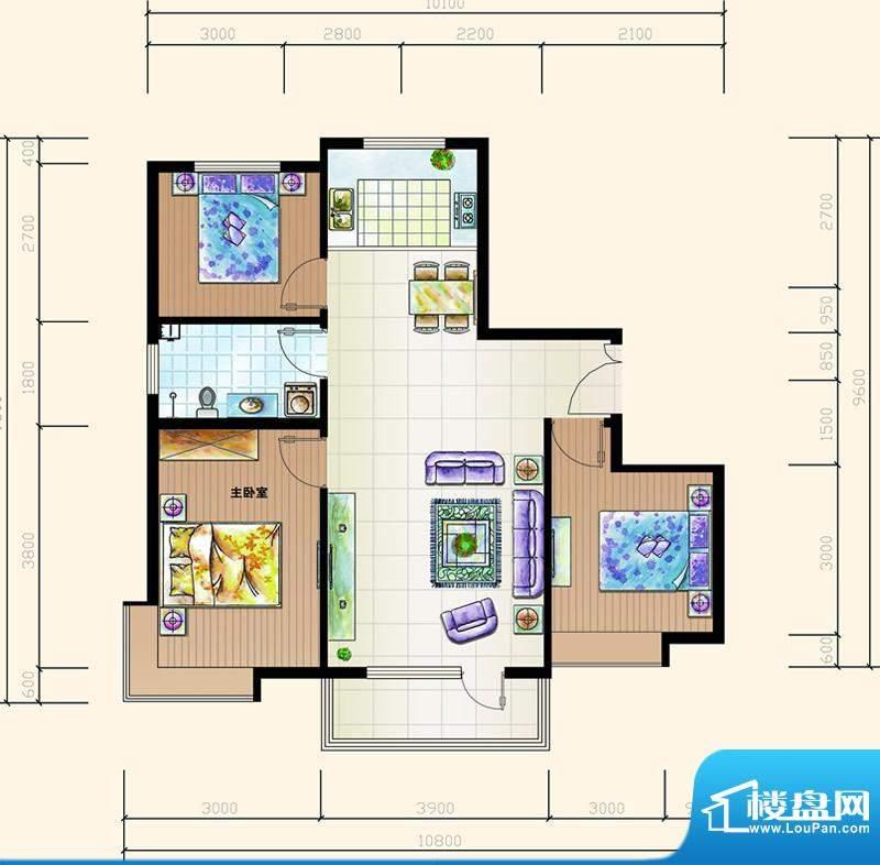 碧海鹏城一期住宅H户面积:101.83m平米