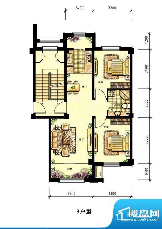 中海蘭庭多层B户型图面积:90.00平米