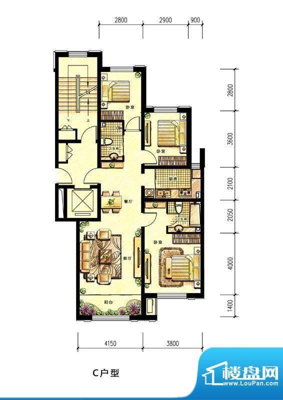 中海蘭庭小高层C户型面积:115.00平米