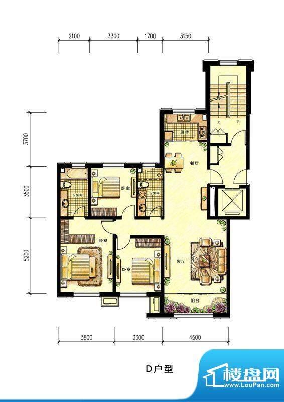中海蘭庭小高层D户型面积:136.00平米