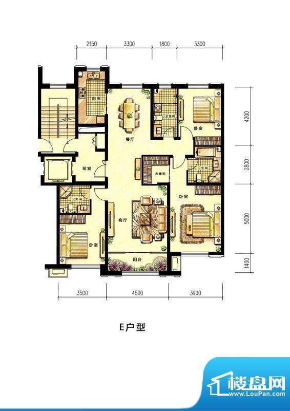 中海蘭庭小高层E户型面积:164.00平米