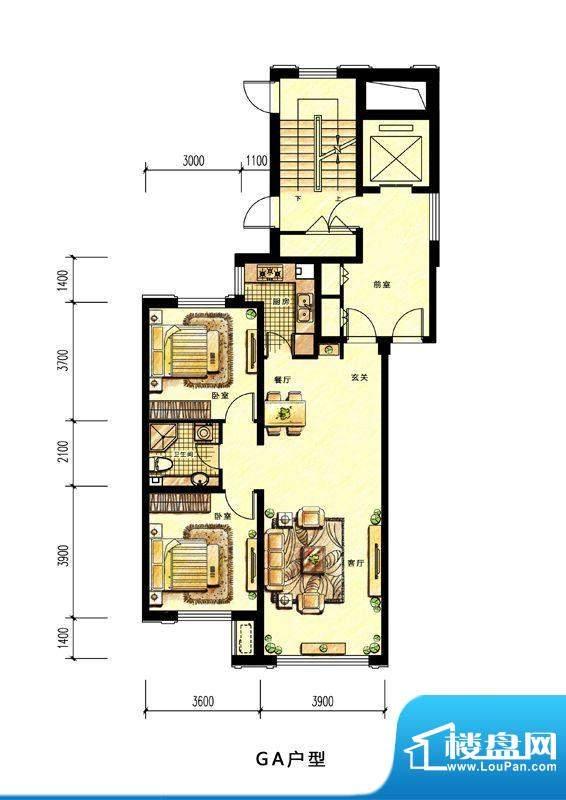中海蘭庭高层GA户型面积:99.00平米