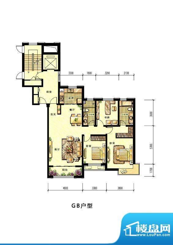 中海蘭庭高层GB户型面积:152.00平米