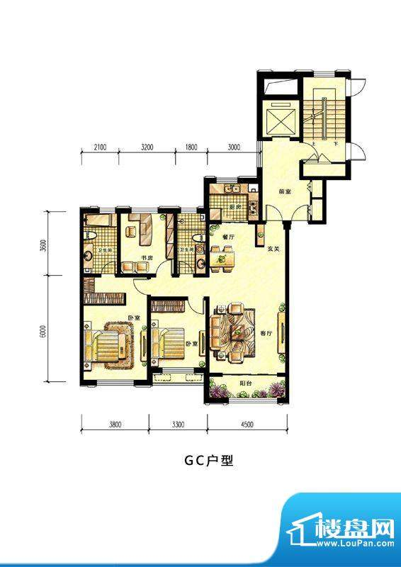 中海蘭庭高层GC户型面积:146.00平米