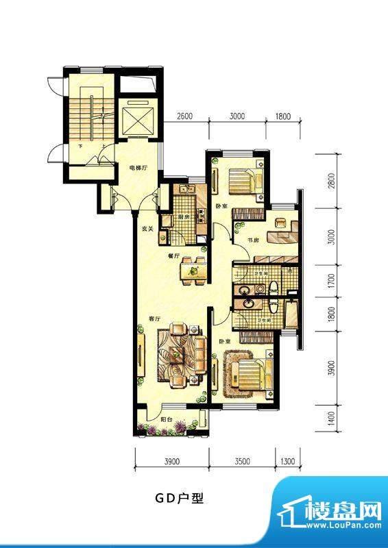中海蘭庭高层GD户型面积:124.00平米