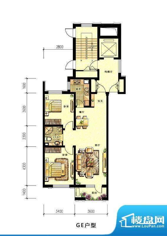 中海蘭庭高层GE户型面积:89.00平米