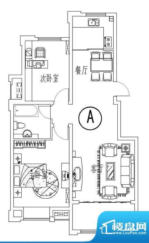 西城晶华A户型两室两面积:91.00平米