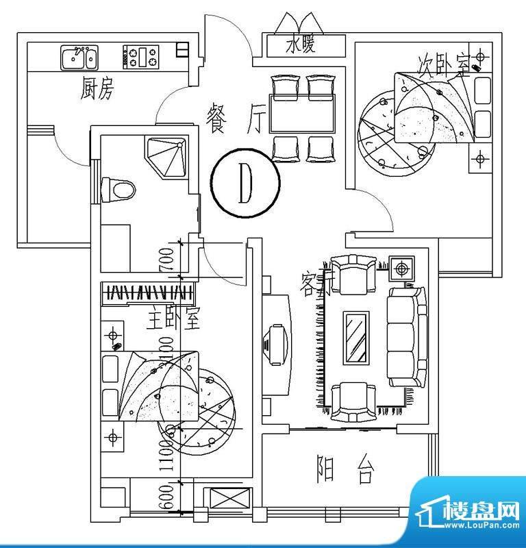 西城晶华D户型两室两面积:82.00平米