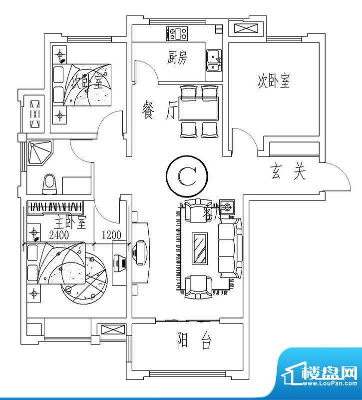 西城晶华C户型三室两面积:103.00平米