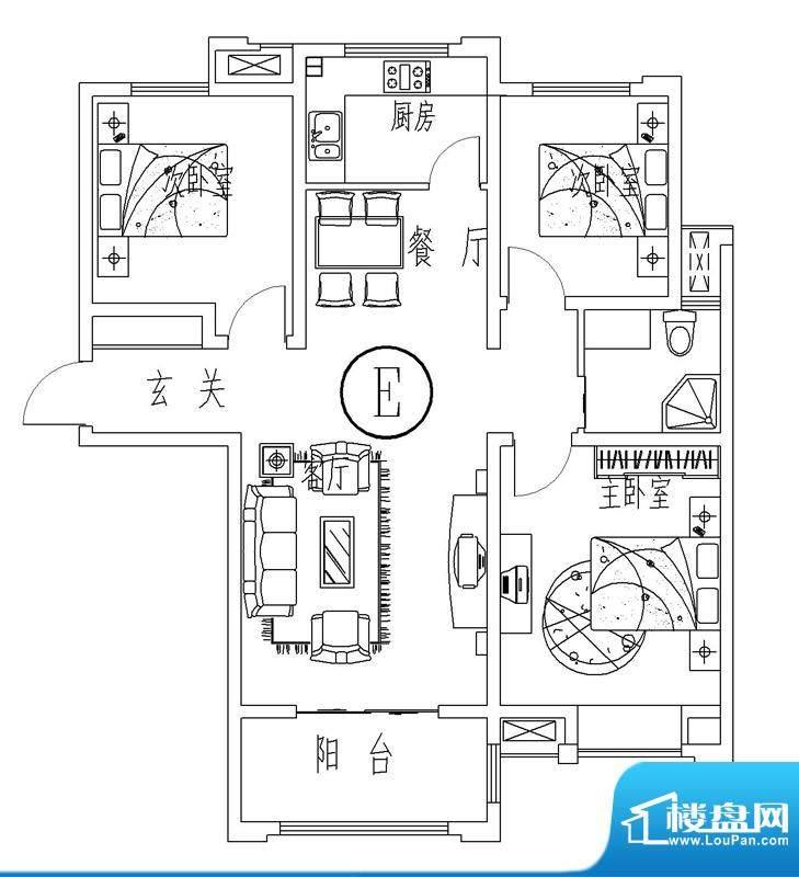 西城晶华E户型三室两面积:100.00平米