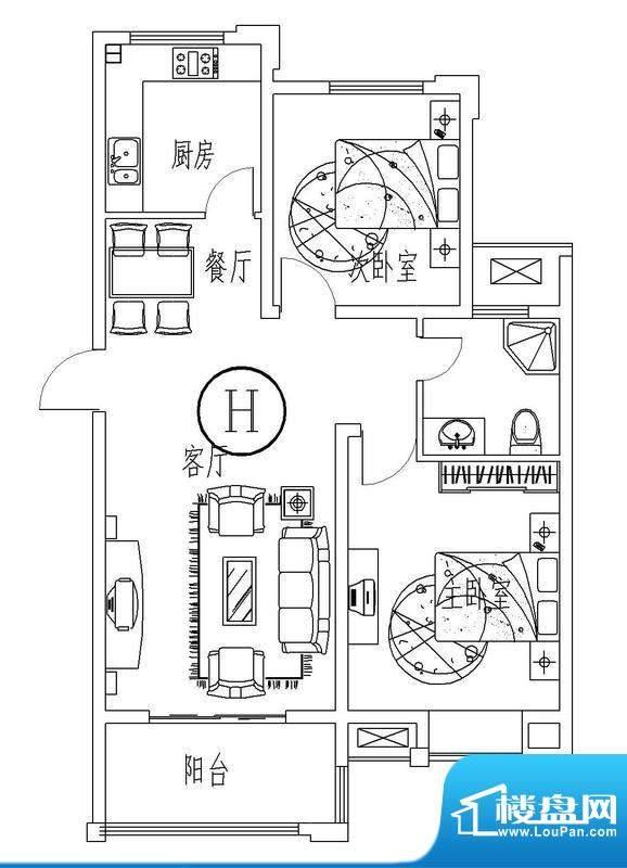 西城晶华H户型两室两面积:89.00平米
