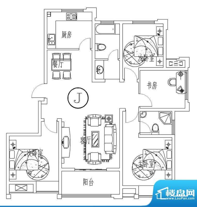 西城晶华J户型四室两面积:135.00平米