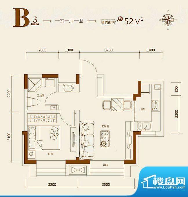 益田枫露B3户型图 1面积:52.00平米