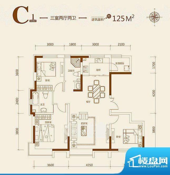 益田枫露C1户型图 3面积:125.00平米