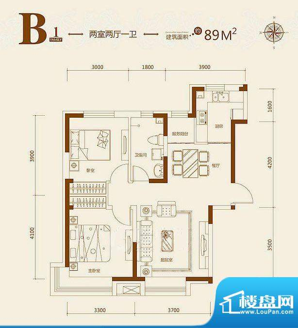 益田枫露B1户型图 2面积:89.00平米