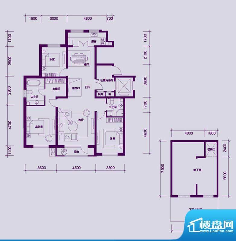 大禹华邦二期A1户型面积:202.00平米