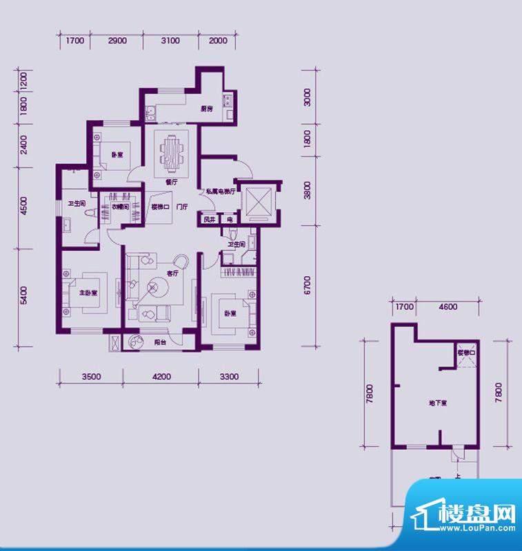 大禹华邦二期B户型图面积:200.00平米