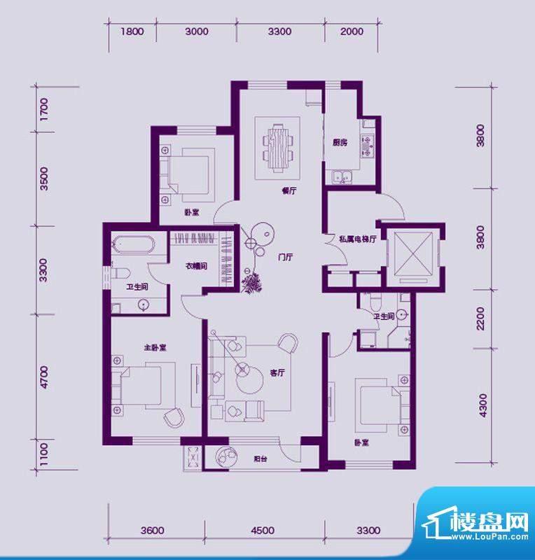 大禹华邦二期A户型图面积:149.00平米
