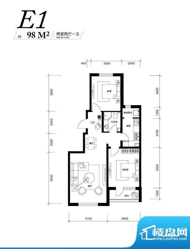 大禹华邦一期E1户型面积:98.00平米
