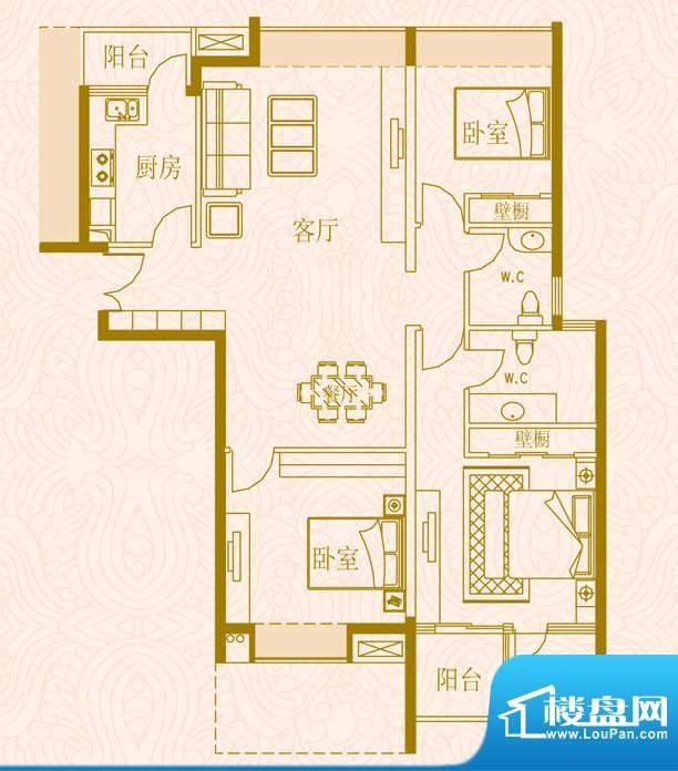 国金时代户型1三室两面积:132.00平米